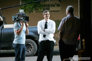 Picture shows_WS Will Pugh films Louis Theroux and Marty Rathbun outside the studio in LA